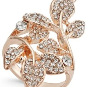 INC Rose-gold multi-leaf ring NEW